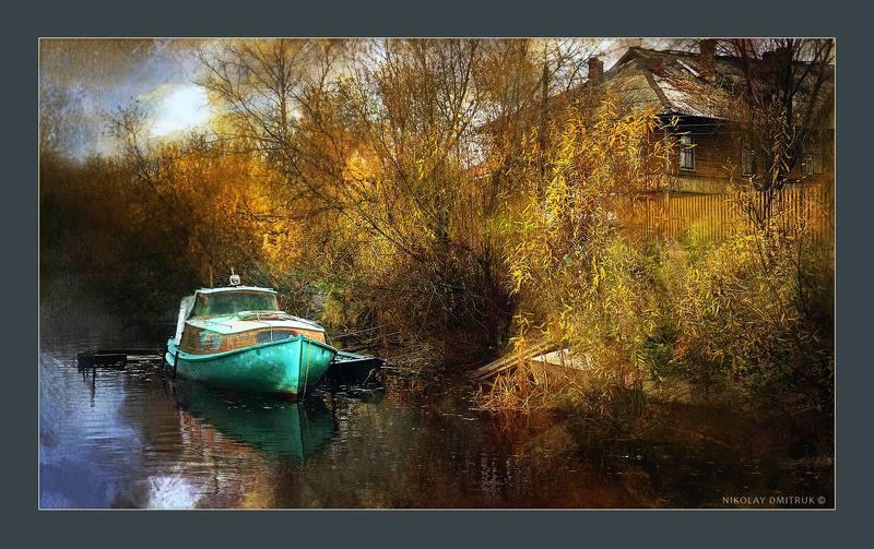пейзаж, , природа, музыка остров Соломбала. лодка. осень.photo preview