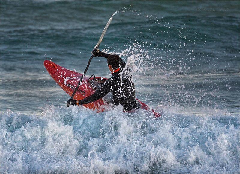 море, каяк, спорт, закат, волны Кипящее мореphoto preview