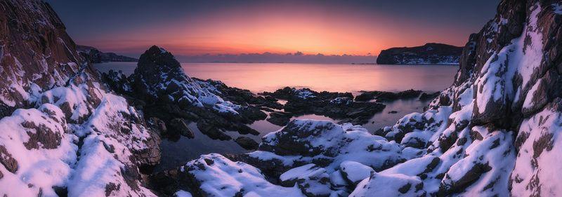 панорама, море, снег, скалы, утро, восход ***photo preview