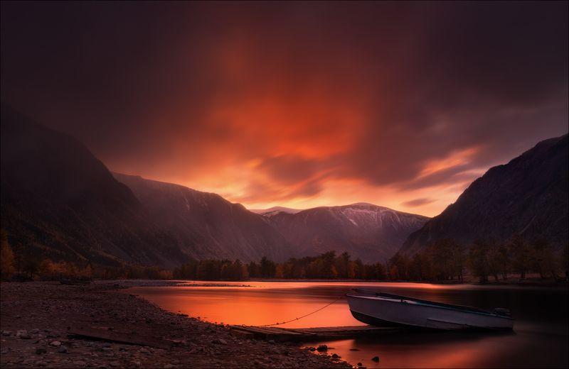 алтай, осень, река, долина, чулышман, казанка, закат, вечер,горы, Последний день Помпеи ..photo preview