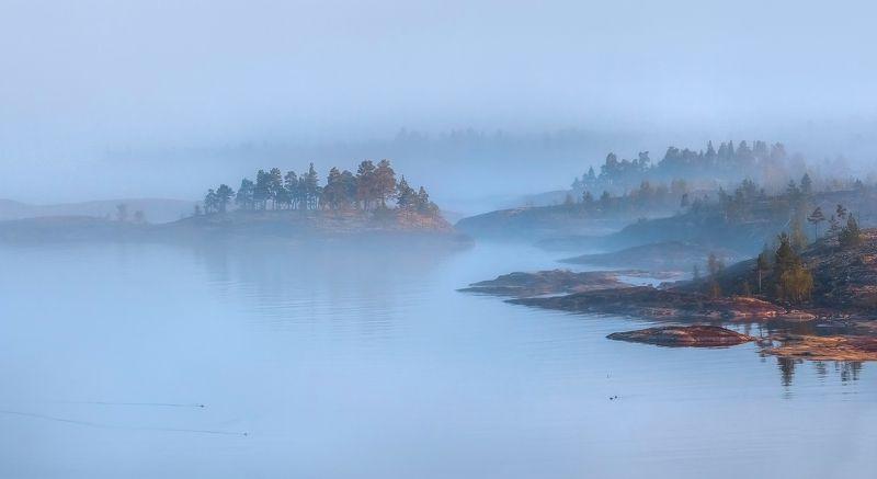ладожское озеро, карелия, шхеры, лето, туман, скалы, лес, берег, фототур, остров, камни, путешествие, плавание, вода, Там, за туманамиphoto preview