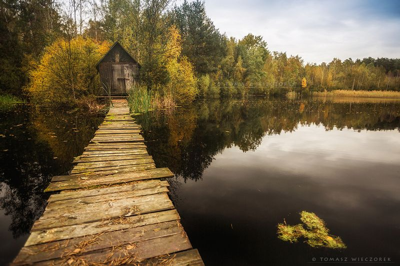 poland, polish, autumn, cottage, footbridge, colours, lake, pond, sky, leaves, morning, sunrise, sunset Enchanted cottagephoto preview