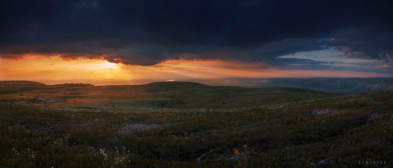 крым, горы, чатыр-даг, закат, облака, нижнее плато, солнце. Вечерний Чатыр-Даг.photo preview