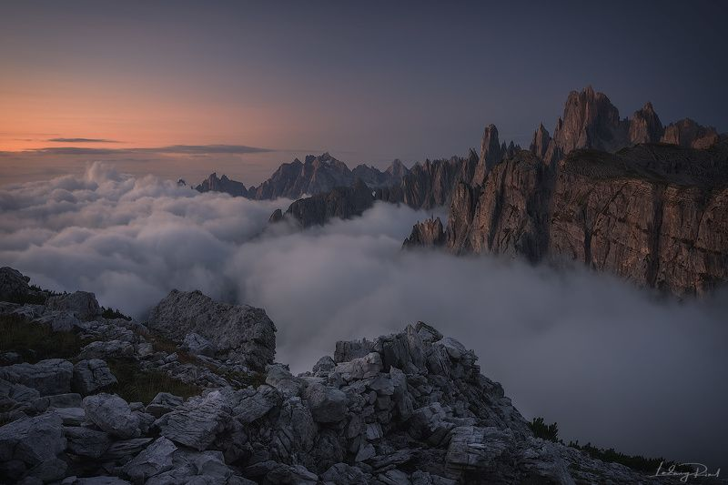 alps, awakening, beauty, before sunrise, chalk stone, cliffs, clouds, dolomites, fog, foggy, hiking, italy, klimbing, morning, morning glow, mountain top, mountaineers, mountains, nature, outdoors, rocks, scenic, south tyrol, sunrise, trkking, valley Awakening to the beauty of the Dolomitesphoto preview