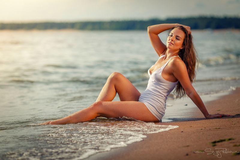 пляж, девушка, солнечно, лето, море  Релаксphoto preview