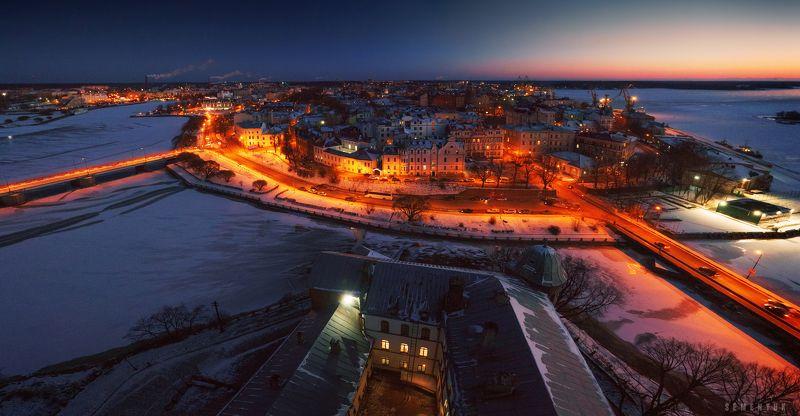 выборг, новый год, вечер, город, старый город, панорама. Новогодний Выборг.photo preview