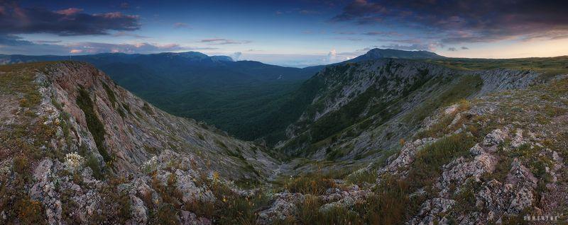 крым, чатыр-даг, закат, нижнее плато, кулуар, панорама. Про изгибы Чатыр-Дага.photo preview