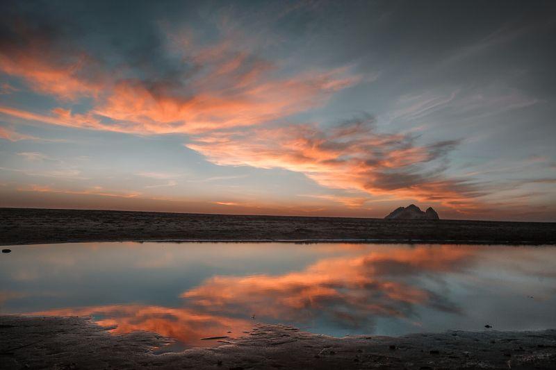 закат, отражение, облака, скалы, пляж, песок, тихий океан, сан-франциско *Корона*photo preview