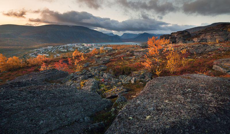 пейзаж,горы,россия,кольский,осень,перспектива,небо,закат,деревья Хибиныphoto preview
