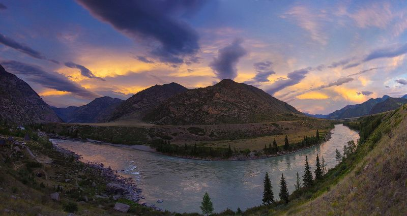 алтай, река, катунь, урочище_кур-кечу, свет,  горы, облака, валерий_чичкин, вечер Уходит деньphoto preview