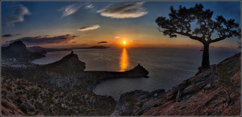 крым, новый свет, утро, солнце, море, панорама Начало дняphoto preview