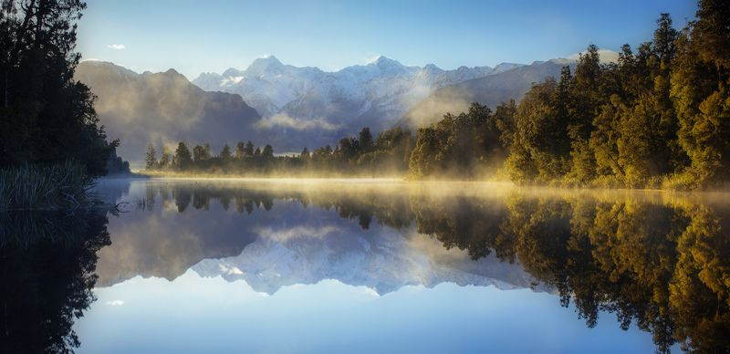new zealand, south island, mount cook,westland, новая зеландия, гора кука Reflection of Lake Mathesonphoto preview