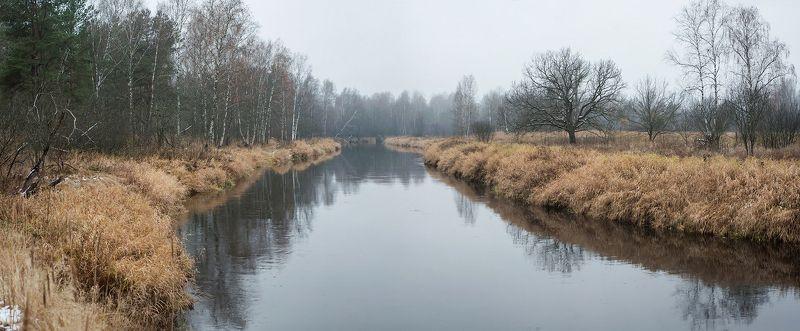 поздняя осень, предзимье, река, лес, отражения, панорамы, мещёра, рязанская область Неторопливая медитация предзимней рекиphoto preview