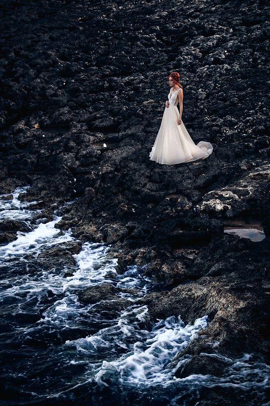 woman, bride, dress, beach, rocks, malta, fashion, natural light I will light your way into darknessphoto preview