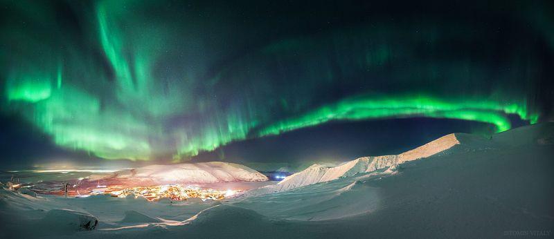пейзаж,кировск,россия,панорама,небо,аврора,панорама,кольский,свет,хъибины Ночной городphoto preview