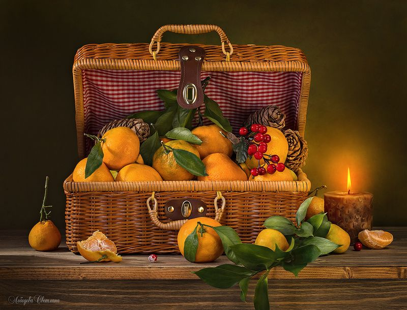 мандарины,чемодан,бамбук,свеча,кекс Мандариновая серияphoto preview