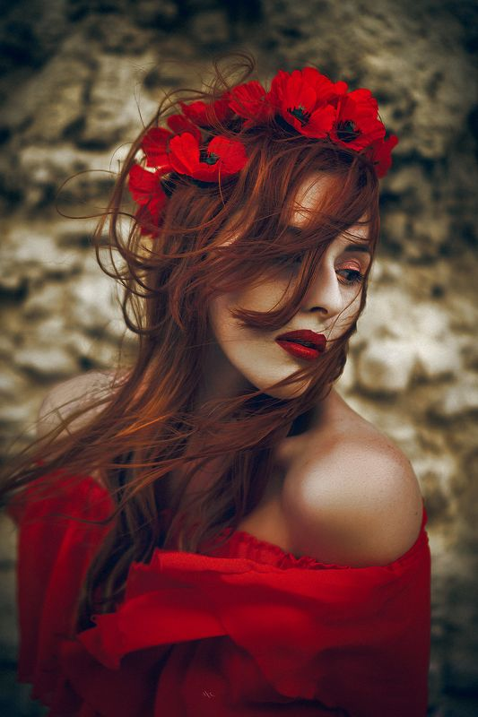 woman, redhead, beauty, portrait, natural light, mood Red passionphoto preview