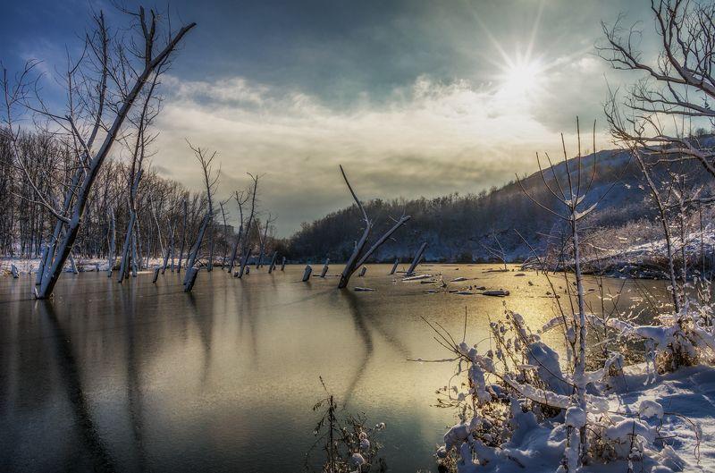 И старый пруд покрылся льдом..photo preview