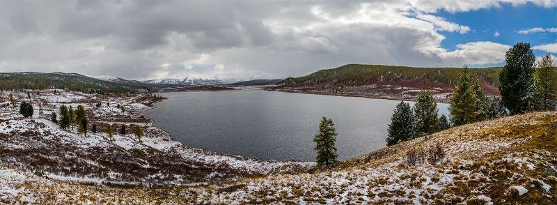 природа, пейзаж, алтай, горы, осень, озеро, панорама, снег, сибирь, *photo preview