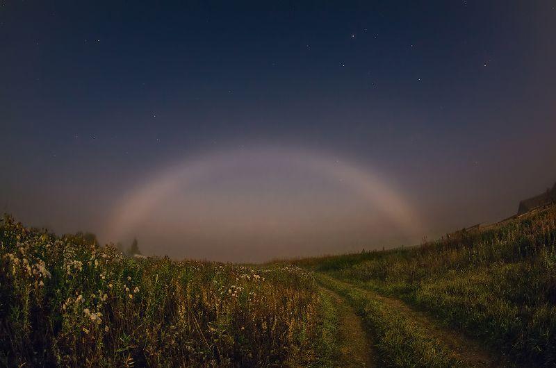 радуга ночь луна звезды деревня Лунная туманная радугаphoto preview