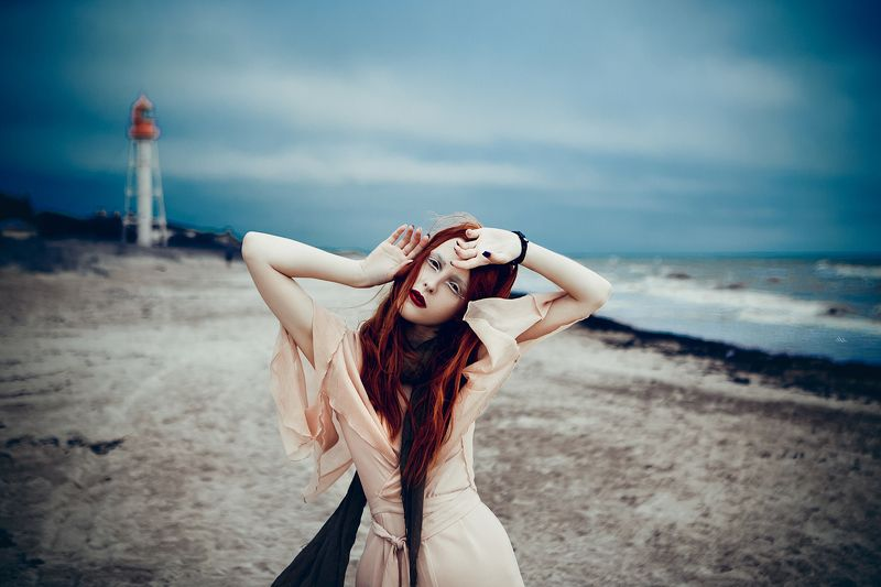 woman, redhead, portrait, natural light And I was never sure whether you were the Lighthouse or The Stormphoto preview