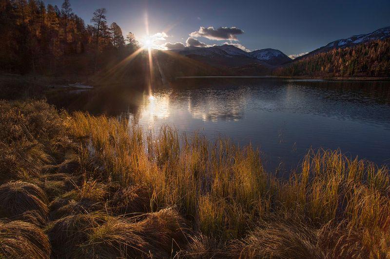 алтай, утро, рассвет, озеро, кок-кёль, вода, осень, свет, лучи, валерий_чичкин Осенний светphoto preview