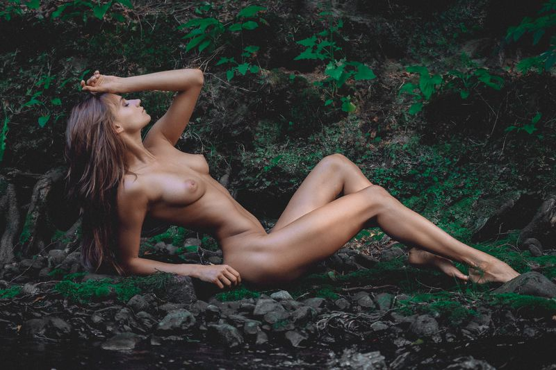 naked, girl, nude, female, body, pose, outdoors, summer Girl and the forestphoto preview
