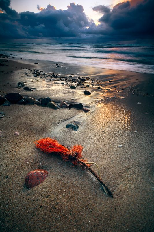 landscape, seascape, baltic sea, sunset, colors, long exposure Red signphoto preview