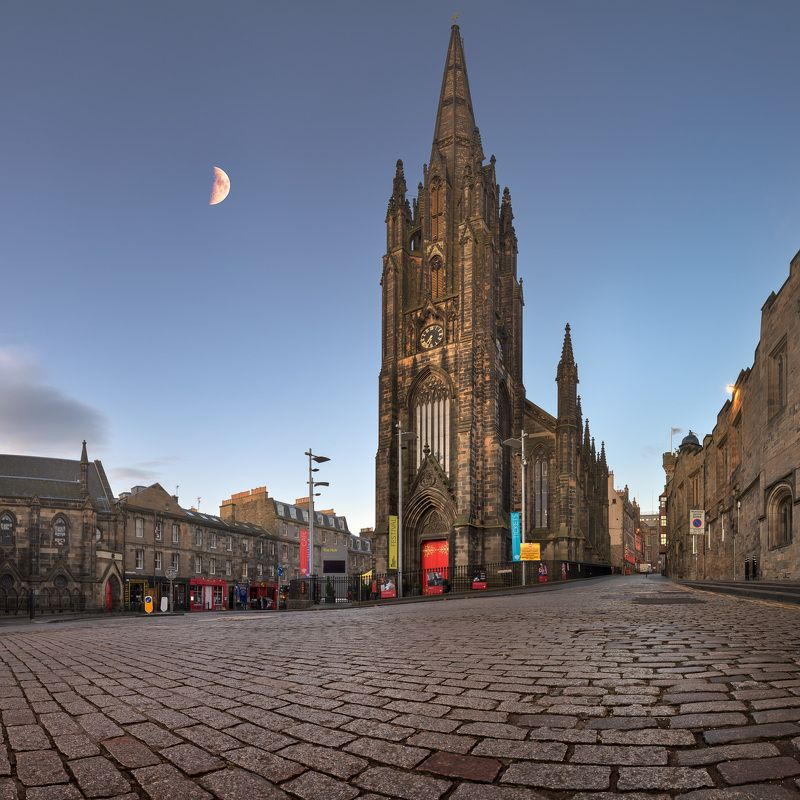 architecture, attraction, britain, building, cafe, capital, city, cityscape, clock, cobbles, crescent, culture, dawn, edinburgh, europe, european, exterior, facade, gothic, historic, history, house, hub, illuminated, kingdom, landmark, lothian, medieval,  Panorama of the Hub in the Morning, Edinburghphoto preview