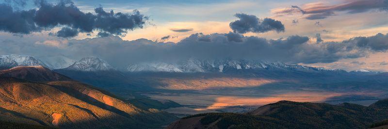 пейзаж, панорама, природа, путешествие, горы, хребет, алтай, северо-чуйский, чуйский, степь, долина, утро, рассвет, большой, красивая, высокие, небо, облака, сентябрь, осень Чуйский рассветphoto preview