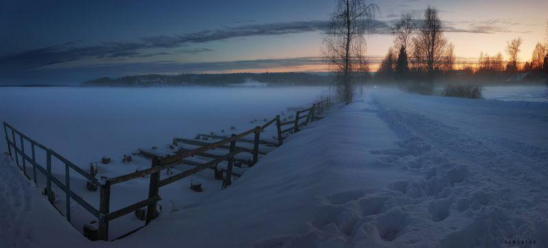 карелия, зима, ладога, берег, снег, закат, панорама. О карельской зиме.photo preview