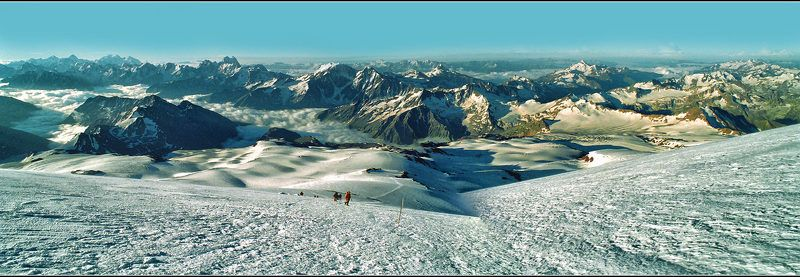 кавказ, г.эльбрус, утро, панорама, скан с плёнки В горах Кавказаphoto preview