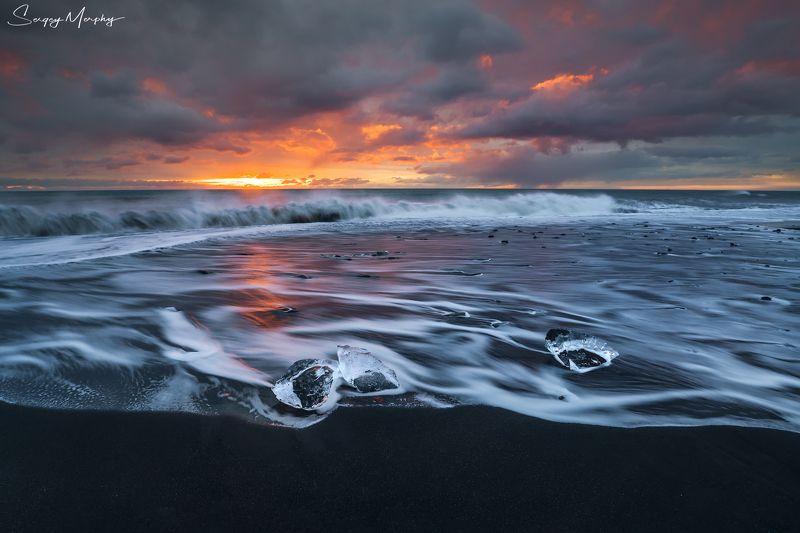 iceland, diamond, beach, jokulsarlon Curly waves just before sunrise. Diamond beach. Iceland.photo preview