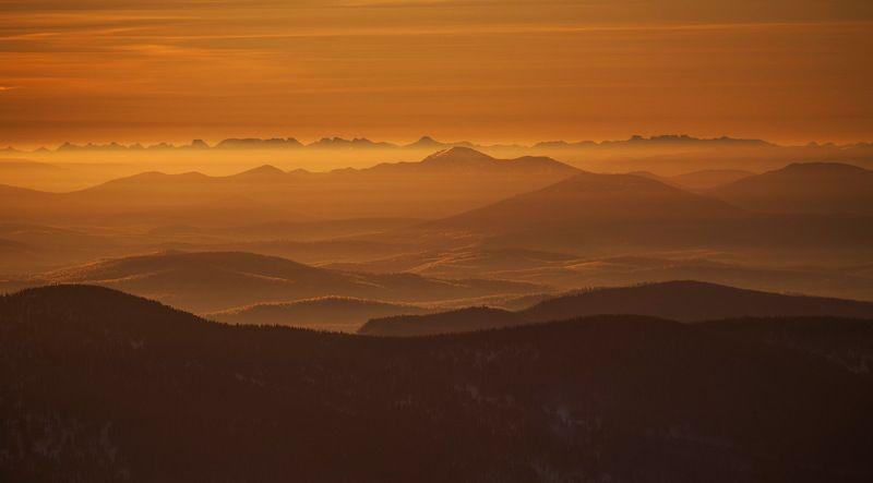 шерегеш, сибирь, кузбасс, горы, зима, снег Творческие закаты от Шерегеш!photo preview
