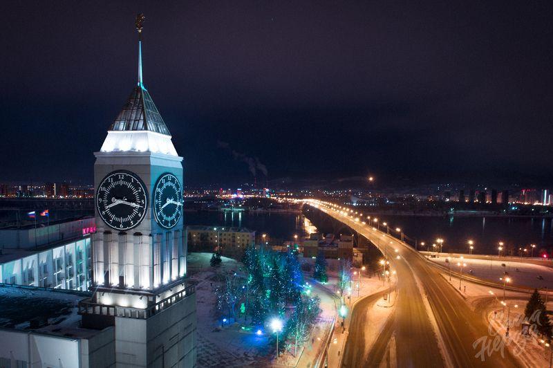 администрация, часы, красноярск, символ, сибирь, город, красноярский, достопримечательность, красивый, зима, пейзаж, енисей Вечерний Красноярскphoto preview