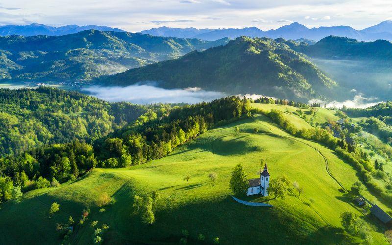 утро, словения, квадрокоптер, дрон, рассвет, green, hill, slovenia, drone, aerial, spring Солнечное утроphoto preview