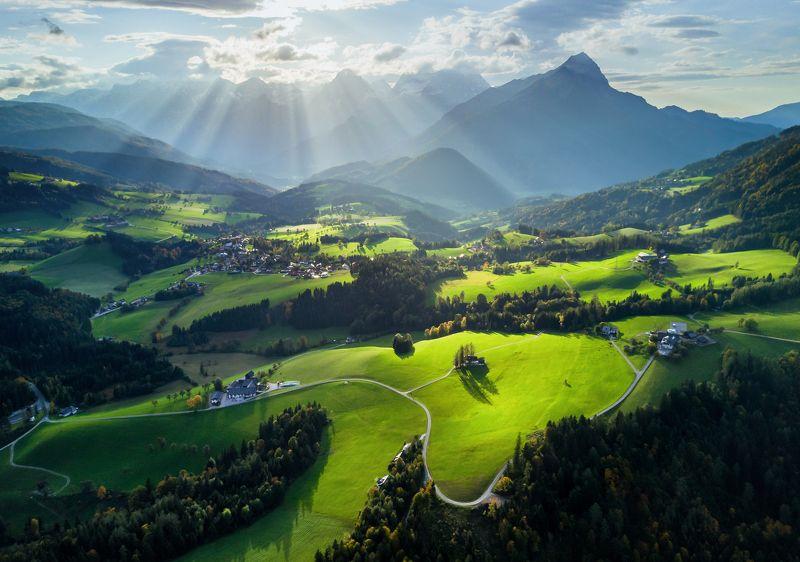 австрия, квадрокоптер, дрон, весна, озеро, austria, aerial, drone, autumn, forest, green, yellow Весеннее утро в Австрииphoto preview