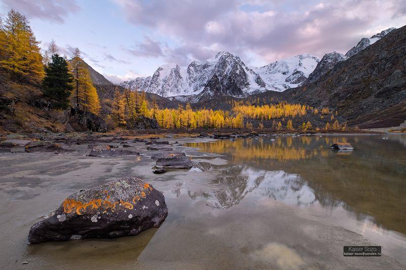россия, алтай ,горный алтай, шавла, шавлинские озера, золотая осень, отражение, лиственницы, вершины, снег В ожидании единороговphoto preview