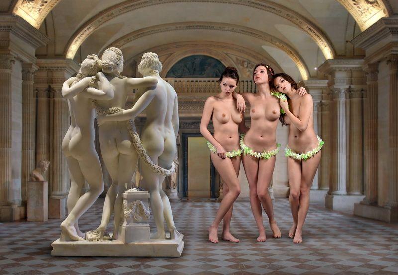 concept, collage, sculpture, museum, louvre, paris, model, vera lavender, posing, nude, portrait, dialog, stone, body, marble Мрамор XVIIIphoto preview