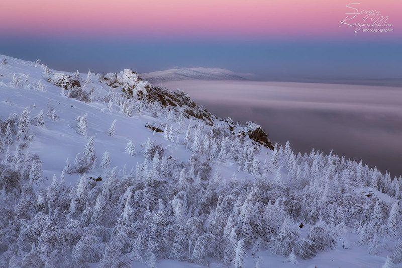таганай, зима, южный урал Когда уходит день.photo preview