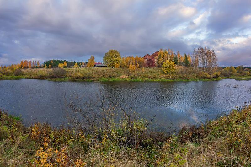 осень река деревня вечер все краски осениphoto preview