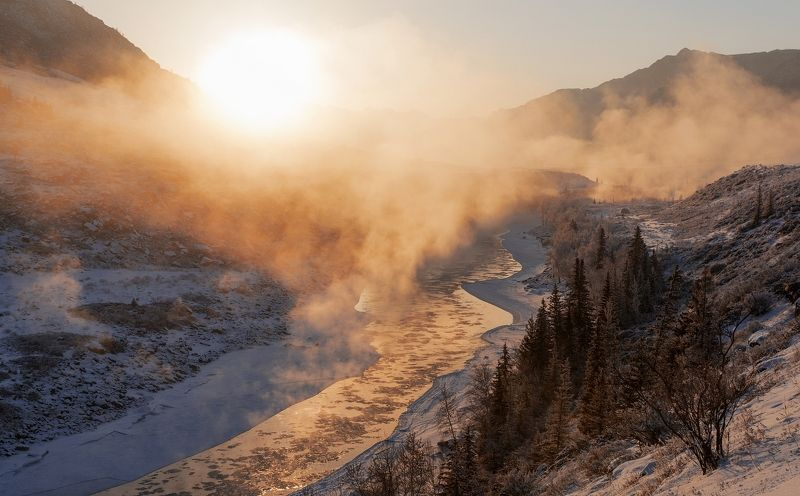 катунь, алтай, рассвет, мороз Рассвет над Катуньюphoto preview