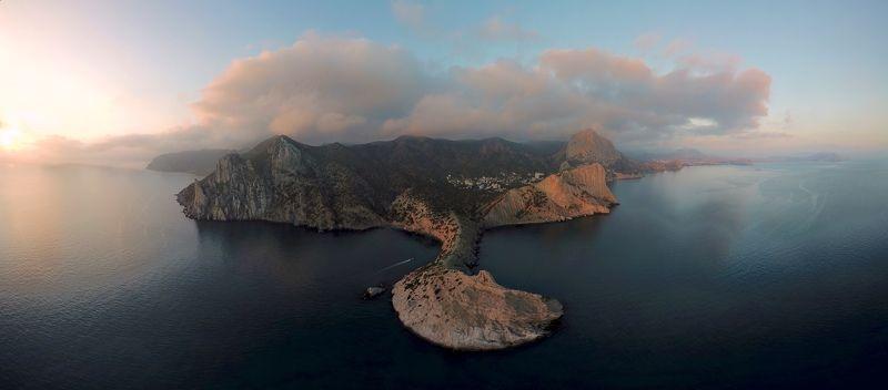Крым, аэрофотосъемка, дрон, панорама, побережье, рассвет, закат,  Панорамы Крыма с высоты птичьего полетаphoto preview