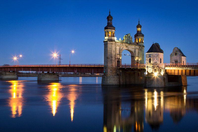 город, мот, река, неман, ночь Мост королевы Луизыphoto preview