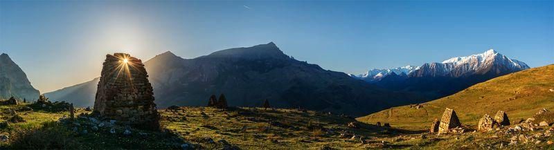 природа, пейзаж, кавказ, горы, весна, вечер, панорама, восход, солнце, небо, облака, свет, утро ***photo preview