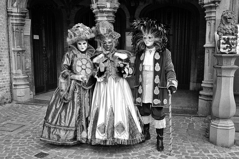The costumes of Venice in Bruges(Belgium).B&W.photo preview