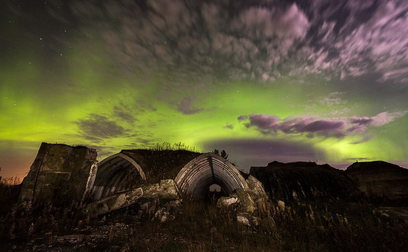 печора коми север северное сияние Северная ночьphoto preview