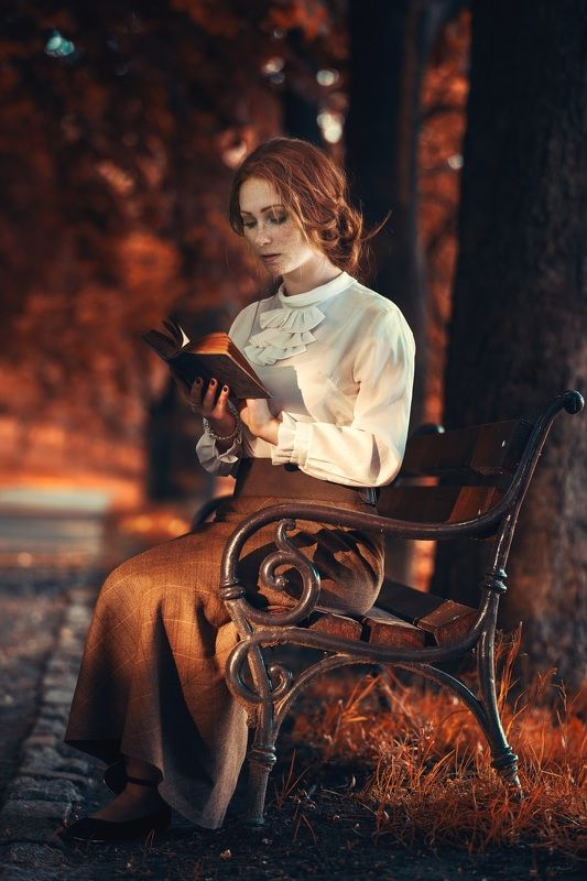 retro woman book autumn Ann of Green GAblesphoto preview