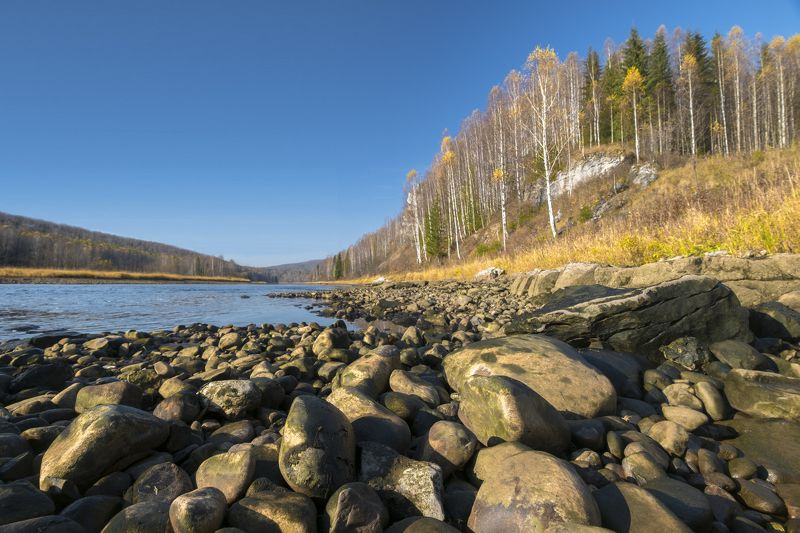 осень, Урал, Губаха, река, валуны, полярик, река, небо Осенний полденьphoto preview