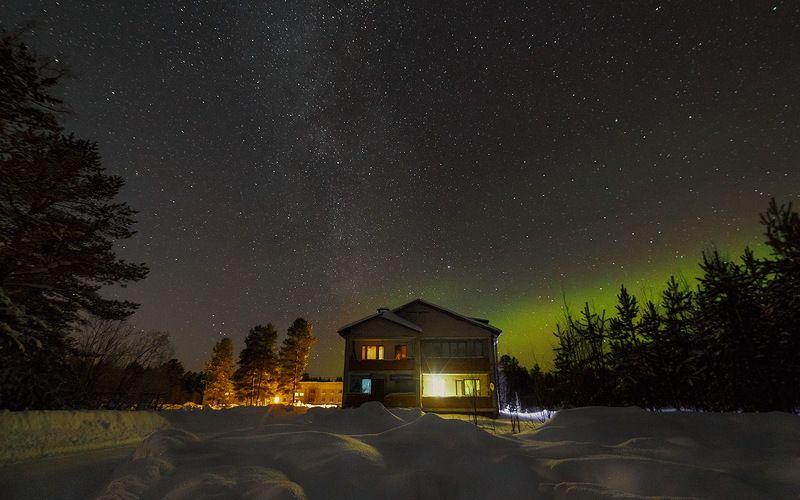 север,ночь,природа,северное сияние,зима Тихая морозная ночьphoto preview